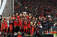 Toronto, Ontario - Saturday December 09, 2017: Larry Tanenbaum hands the Philip F. Anschutz Trophy to Michael Bradley. Toronto FC defeated the Seattle Sounders FC 2-0 in MLS Cup 2017, Major League Soccer's (MLS) championship game played at BMO Field.