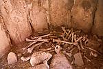Human bones in chullpa mortuary monument, Ciudad de Piedra, Andes, western Bolivia