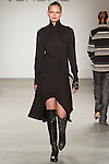 Phoebe walks runway in an outfit from the VERDAD Fall Winter 2017 collection by Louis Verdad, on February 12, 2017; at Pier 59 Studios during New York Fashion Week: Women's Fall Winter 2017.