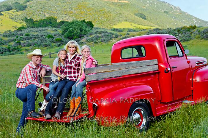 Family portrait in the 1949 Red Ford Truck, San Luis Obispo, California (Madonna Family)