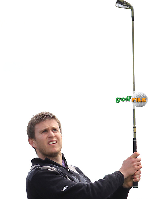 Gary Rainsford (Galway Bay) on the 2nd tee during the Final of the Connacht Barton Shield at Galway Golf Club on Sunday 7th June 2015.<br /> Picture:  Thos Caffrey / www.golffile.ie