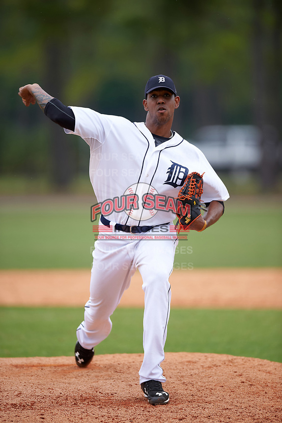 Detroit Tigers Edgar De La Rosa (57) during a minor league Spring Training game against the Washington Nationals on March 28, 2016 at Tigertown in Lakeland, Florida.  (Mike Janes/Four Seam Images)