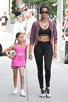 NEW YORK, NY - AUGUST 27: Padma Lakshmi and her daughter Krishna Thea Lakshmi-Dell seen in New York, New York on August 27, 2016.  Photo Credit: Rainmaker Photo/MediaPunch