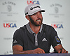 Dustin Johnson speaks with the media after shooting a 3-under 67 in the second round of the U.S. Open Championship at Shinnecock Hills Golf Club in Southampton on Friday, June 15, 2018. He tops the leaderboard after two rounds with an overall score of 4-under 166.