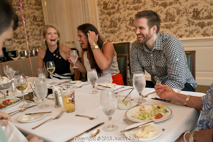 FROM LEFT: Shav's mother, Kim, his sister Senna and Shavlik celebrate his grandmother Gigi's 79th birthday at the Carolina Country Club in Raleigh, N.C. on Friday, July 3, 2015. (Justin Cook)