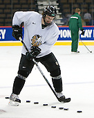 Taylor Chorney (North Dakota 4) - The 2008 Frozen Four participants practiced on Wednesday, April 9, 2008, at the Pepsi Center in Denver, Colorado.