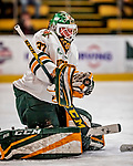 9 February 2018: University of Vermont Catamount Goaltender Sydney Scobee, a Sophomore from Minnetrista, MN, make a first period save on her way to a 1-0 shutout against the University of Connecticut Huskies at Gutterson Fieldhouse in Burlington, Vermont. The Lady Cats won the first game and tied the second game 0-0 in their weekend Hockey East series. Mandatory Credit: Ed Wolfstein Photo *** RAW (NEF) Image File Available ***