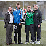 Glasgow cup final preview: Rangers and Celtic coaches Jim Sinclair and Tommy McIntyre with captains David Brownlie (Rangers) and Joe Thompson (Celtic)