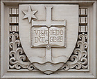 "March 30, 2020; Relief of the University seal over a door to O'Shaughnessy Hall. Latin ""Vita Dulcedo Spes"" translates to ""Life, Sweetness, Hope."" (Photo by Matt Cashore/University of Notre Dame)"