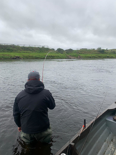 David Morris playing his first ever fly caught salmon Mount Falcon River Moy July 2020