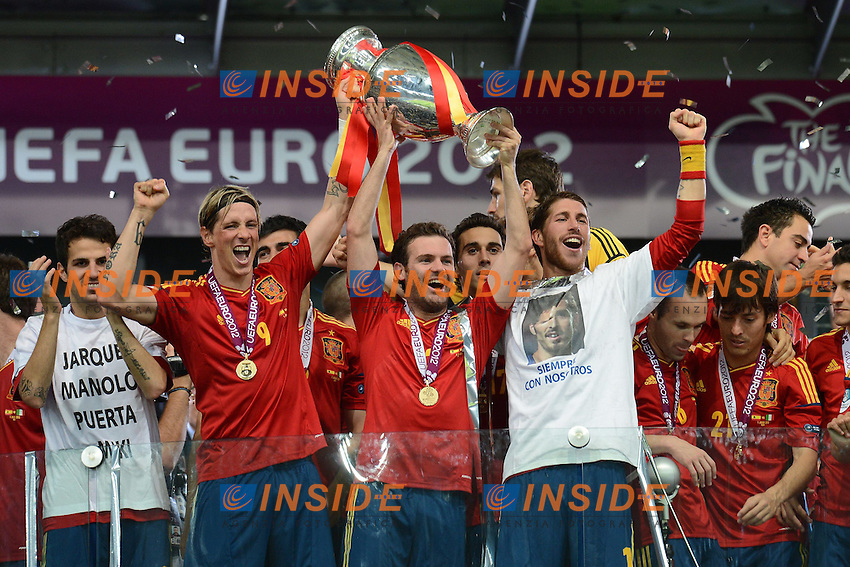 "Fernando Torres, Juan Mata, Sergio Ramos Spain.Kiev 01/07/2012  ""Stadio Olimpico"".Football calcio Europeo 2012 Spagna Vs Italia.Football Calcio Euro 2012.Foto Insidefoto Alessandro Sabattini..."