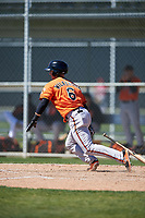 Baltimore Orioles Steve Wilkerson (6) follows through on a swing during a minor league Spring Training game against the Boston Red Sox on March 16, 2017 at the Buck O'Neil Baseball Complex in Sarasota, Florida.  (Mike Janes/Four Seam Images)