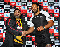 The pre-match coin toss before the 2017 Rugby League World Cup quarterfinal match between New Zealand Kiwis and Fiji Bati at Wellington Regional Stadium in Wellington, New Zealand on Saturday, 18 November 2017. Photo: Dave Lintott / lintottphoto.co.nz
