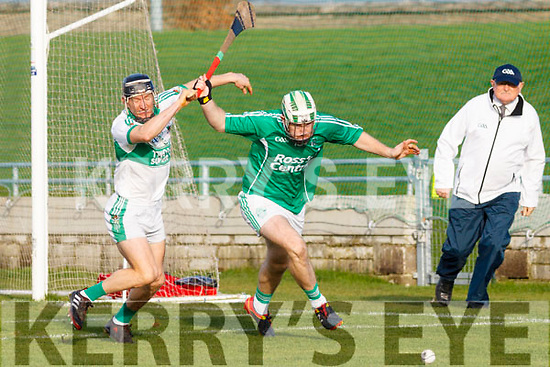Ballyduff's Padraig Boyle and Kanturk's John McLoughlin in action during their encounter in the Munster Intermediate Club hurling championship semi final on Sunday last.