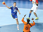 21.01.2013 Barcelona, Spain. IHF men's world championship, Eighth Final. Picture show Luka Zvizej in action during game slovenia vs Egypt at Palau St Jordi