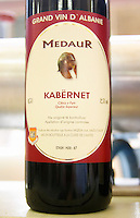 Bottle, detail of label, Medaur Cuvee de l'Amitiee Grand Vin d'Albanie Cabernet Sauvignon (Kabernet) Vere e Kuqe Kantina Miqesia Koplik Kantina Miqesia or Medaur winery, Koplik. Albania, Balkan, Europe.