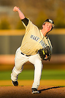 Wake Forest Demon Deacons relief pitcher Connor Kaden #40 in action against the UNC-Asheville Bulldogs at Wake Forest Baseball Park on February 28, 2012 in Winston-Salem, North Carolina.  The Demon Deacons defeated the Bulldogs 9-8.  (Brian Westerholt/Four Seam Images)