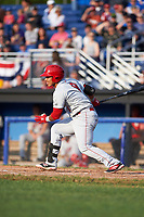 Auburn Doubledays left fielder Oliver Ortiz (9) at bat during a game against the Batavia Muckdogs on June 19, 2017 at Dwyer Stadium in Batavia, New York.  Batavia defeated Auburn 8-2 in both teams opening game of the season.  (Mike Janes/Four Seam Images)
