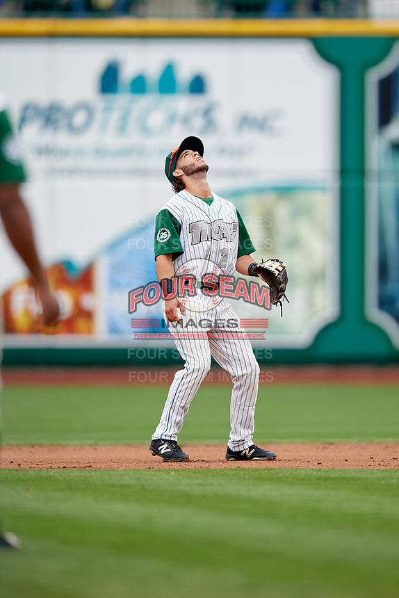 Fort Wayne TinCaps second baseman Nate Easley (17) tracks a pop up during a game against the Wisconsin Timber Rattlers on May 10, 2017 at Parkview Field in Fort Wayne, Indiana.  Fort Wayne defeated Wisconsin 3-2.  (Mike Janes/Four Seam Images)