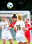 14 October 2010: University of Hartford Hawks midfielder Julianne Oberholtzer, a Sophomore from Holland, PA, braces for a header against the University of Vermont Catamounts at Centennial Field in Burlington, Vermont. The Hawks defeated the Lady Cats 6-2 in America East play. Mandatory Credit: Ed Wolfstein Photo