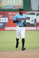 Torii Hunter jr. (4) of the Inland Empire 66ers during a game against the Stockton Ports at San Manuel Stadium on May 26, 2019 in San Bernardino, California. (Larry Goren/Four Seam Images)