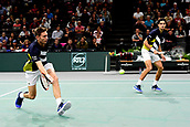 3rd November 2017, Paris, France; Rolex Masters tennis tournament;  Pierre Hugues Herbert and Nicolas Mahut (Fra)in their game against Jamie Murray (gbr) and Bruno Soares (bra)