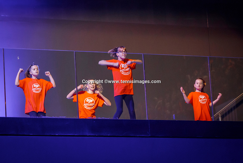 The Hague, The Netherlands, Februari 7, 2020,    Sportcampus, FedCup  Netherlands -  Balarus, Opening with dancers<br /> Photo: Tennisimages/Henk Koster