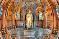 A statue of James A. Garfield stands inside  the James A. Garfield Monument located in Lake View Cemetery in Cleveland, Ohio.  The monument is the final resting place of Mr. Garfield, the 20th president of the USA.