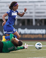 Boston Breakers forward Sydney Leroux (2) break on net evades Sky Blue FC goalkeeper Brittany Cameron (1) but fails to score. In a National Women's Soccer League (NWSL) match, Boston Breakers (blue) defeated Sky Blue FC (white), 3-2, at Dilboy Stadium on June 30, 2013.