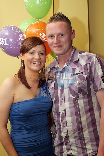 Michelle Leddy with her boyfriend Kevin McGuirk at her 21st in The Star and Crescent...Photo NEWSFILE/Jenny Matthews.(Photo credit should read Jenny Matthews/NEWSFILE)....This Picture has been sent you under the condtions enclosed by:.Newsfile Ltd..The Studio,.Millmount Abbey,.Drogheda,.Co Meath..Ireland..Tel: +353(0)41-9871240.Fax: +353(0)41-9871260.GSM: +353(0)86-2500958.email: pictures@newsfile.ie.www.newsfile.ie.FTP: 193.120.102.198.