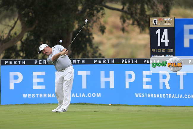 Damien McGrane (IRL) on the 14th tee during Round 4 of the ISPS HANDA Perth International at the Lake Karrinyup Country Club on Sunday 26th October 2014.<br /> Picture:  Thos Caffrey / www.golffile.ie