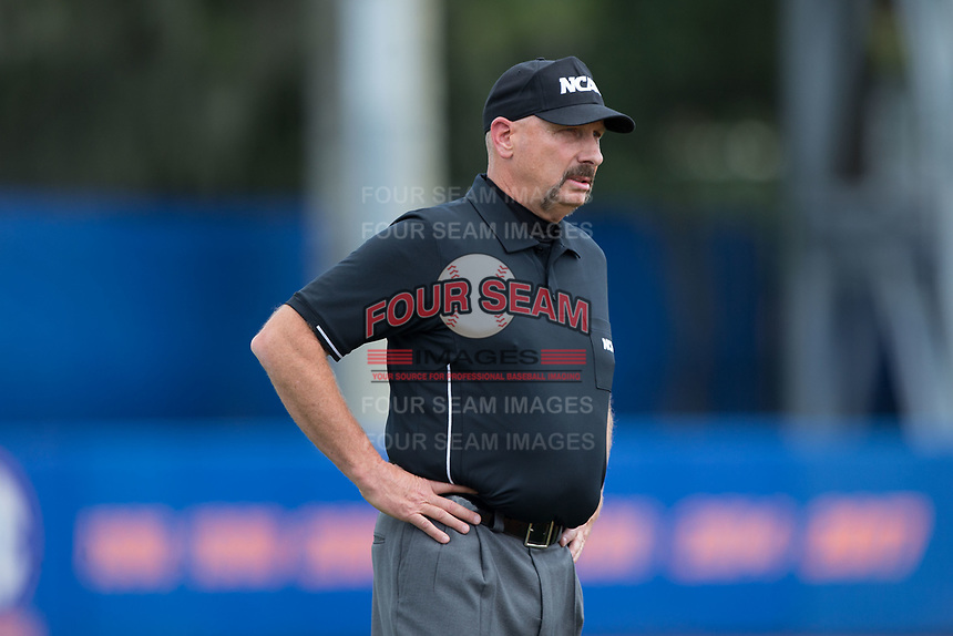 Third base umpire Randy Sutton during Game One of the Gainesville Super Regional of the 2017 College World Series between the Wake Forest Demon Deacons and the Florida Gators at Alfred McKethan Stadium at Perry Field on June 10, 2017 in Gainesville, Florida.  The Gators defeated the Demon Deacons 2-1 in 11 innings.  (Brian Westerholt/Four Seam Images)