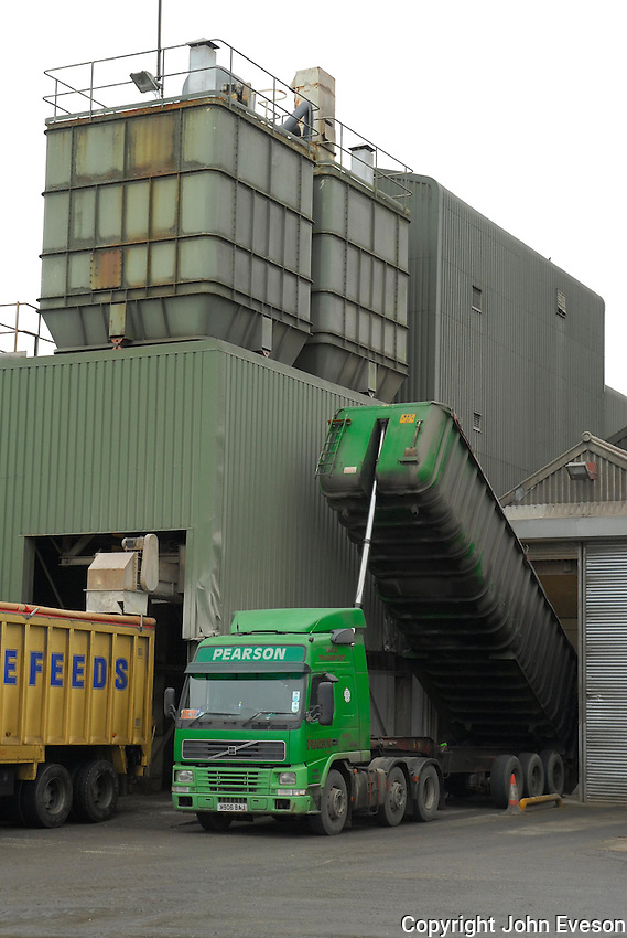 Unloading lorries at an animal feed plant...Copyright John Eveson 01995 61280..j.r.eveson@btinternet.com
