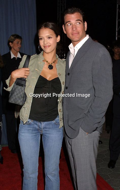 "©2003 KATHY HUTCHINS / HUTCHINS PHOTO.(818) 567-1980.""GHOSTS OF THE ABYSS"" PREMIERE.IMAX MOVIE IN 3-D.LOS ANGELES, CA.MARCH 31, 2003..JESSICA ALBA.MICHAEL WEATHERLY"