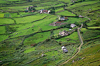 Irish countryside of houses and fields, Ring of Kerry, Near Caherdaniel, County Kerry, Ireland, AGPix_0136.