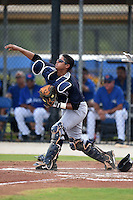 GCL Yankees 2 catcher Rainiero Coa (76) throws down to second during a game against the GCL Blue Jays on July 2, 2014 at the Bobby Mattick Complex in Dunedin, Florida.  GCL Yankees 2 defeated GCL Blue Jays 9-6.  (Mike Janes/Four Seam Images)