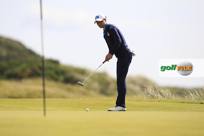 Alessandra Fanali (ITA) on the 7th green during Round 3 Matchplay of the Women's Amateur Championship at Royal County Down Golf Club in Newcastle Co. Down on Friday 14th June 2019.<br /> Picture:  Thos Caffrey / www.golffile.ie<br /> <br /> All photos usage must carry mandatory copyright credit (© Golffile | Thos Caffrey)