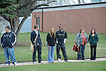 Students at Eureka College, the alma matter of President Reagan, await the arrival of Mikhail Gorbachev, the last premier of the Soviet Union, in Eureka, Illinois on March 27, 2009.  Gorbachev is arriving to receive an honorary doctorate from the college, calling Reagan a partner whom he trusted.