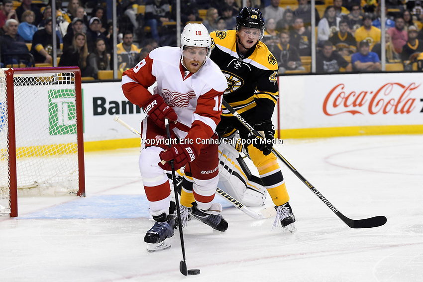 Monday, September 28, 2015, Boston, MA - Detroit Red Wings center Joakim Andersson (18) plays the puck in front of Boston Bruins defenseman Linus Arnesson (49) during the NHL game between the Detroit Red Wings and the Boston Bruins held at TD Garden, in Boston, Massachusetts. Detroit defeats Boston 3-1 in regulation time. Eric Canha/CSM