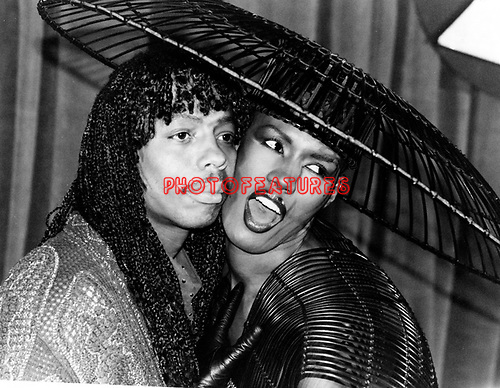 Rick James and Grace Jones 1983 at Grammy Awards.© Chris Walter.