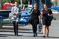 Pictured: Three ladies walking during the sunny weather at Mumbles, near Swansea, Wales, UK. Thursday 19 September 2019