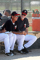 Minnesota Twins pitching coach Eric Rasmussen (left) and special instructor Jack Morris during an Instructional League game against the New York Mets at Lee County Sports Complex on October 4, 2011 in Fort Myers, Florida.  (Mike Janes/Four Seam Images)