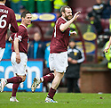 HEARTS' CRAIG BEATTIE CELEBRATES  AFTER HE HEADS HOME HEARTS' FIRST GOAL