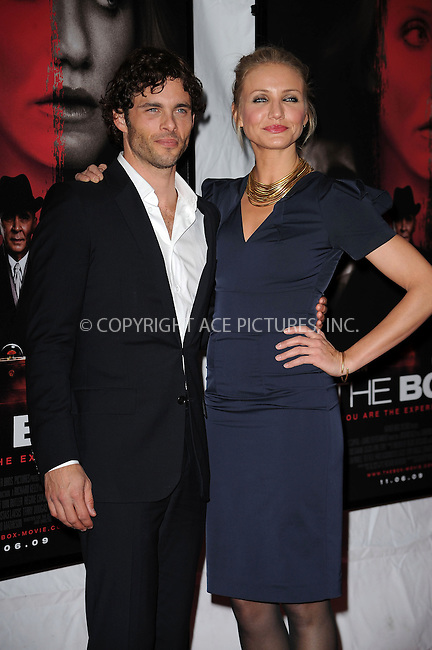 WWW.ACEPIXS.COM . . . . . ....November 4 2009, New York City....Actors James Marsden and Cameron Diaz arriving at the premiere of 'The Box' at the AMC Lincoln Square on November 4, 2009 in New York City.....Please byline: KRISTIN CALLAHAN - ACEPIXS.COM.. . . . . . ..Ace Pictures, Inc:  ..tel: (212) 243 8787 or (646) 769 0430..e-mail: info@acepixs.com..web: http://www.acepixs.com