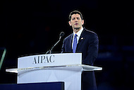 Washington, DC - March 21, 2016: House Speaker Paul Ryan addresses attendees of the AIPAC Policy Conference at the Verizon Center in the District of Columbia, March 21, 2016. AIPAC is engaged in promoting and protecting the U.S.-Israel relationship to enhance security for both countries. (Photo by Don Baxter/Media Images International)