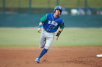 Brhet Bewley (1) of the Lexington Legends hustles towards third base against the Kannapolis Intimidators at Kannapolis Intimidators Stadium on August 4, 2019 in Kannapolis, North Carolina. The Legends defeated the Intimidators 5-1. (Brian Westerholt/Four Seam Images)