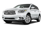 Stock pictures of low aggressive front three quarter view of a 2014 Infiniti QX60 Hybrid 5 Door SUV Low Aggressive