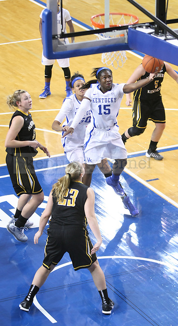 Linnae Harper (15) goes up for a layup during the second half of the women UK hoops vs. Northern Kentucky University at Memorial Coliseum. Wednesday, December 3, 2014 in Lexington. Photo by Joel Repoley | Staff