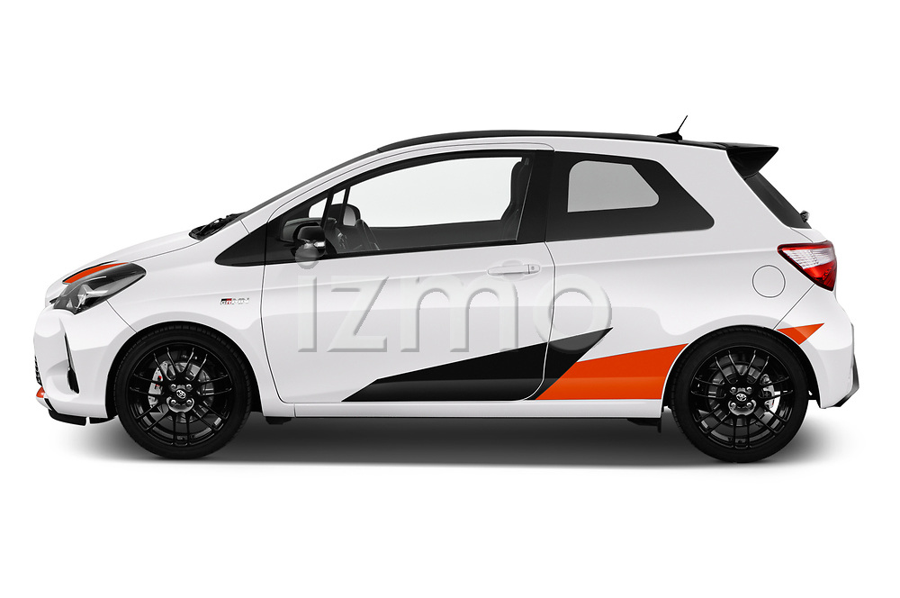 Car driver side profile view of a 2018 Toyota Yaris GRMN 3 Door Hatchback