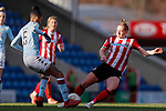 Elisha N'Dow of Aston Villa and Aimee Palmer of Sheffield United challenge for the ball during the The FA Women's Championship match at the Proact Stadium, Chesterfield. Picture date: 12th January 2020. Picture credit should read: James Wilson/Sportimage